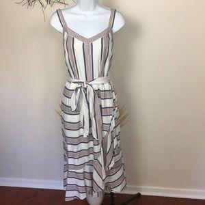LOFT sz 14 striped maxi dress. Tie waist